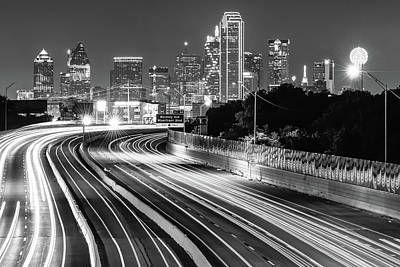 Photograph - Dallas Skyline At Night In Black And White by Gregory Ballos