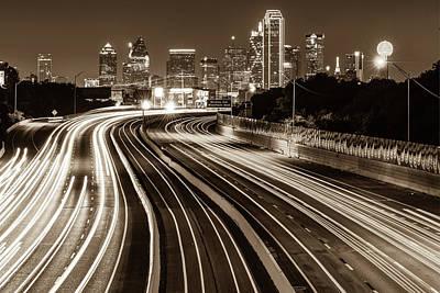 Photograph - Dallas Skyline At Night - Sepia - Texas Art by Gregory Ballos