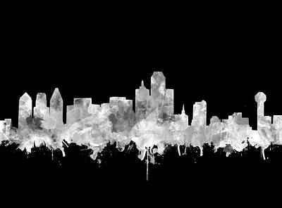 Abstract Digital Painting - Dallas Skyline Black And White 2 by Bekim Art