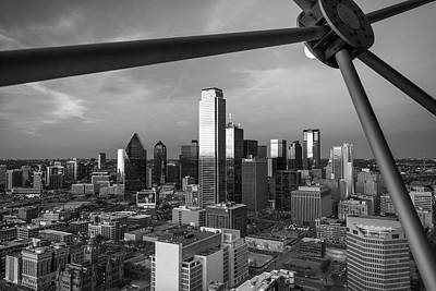 Photograph - Dallas Skyline Black And White From Reunion Tower by Gregory Ballos
