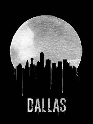 Moon Digital Art - Dallas Skyline Black by Naxart Studio