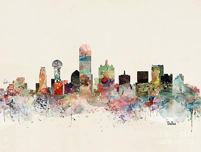 Painting - Dallas Skyline by Bleu Bri