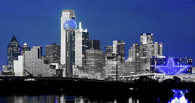 Photograph - Dallas Skyline Blue 91217 by Rospotte Photography