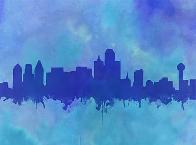 Abstract Digital Painting - Dallas Skyline Blue 2 by Bekim Art