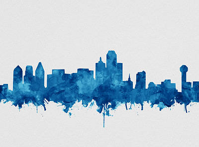 Abstract Digital Painting - Dallas Skyline Blue by Bekim Art