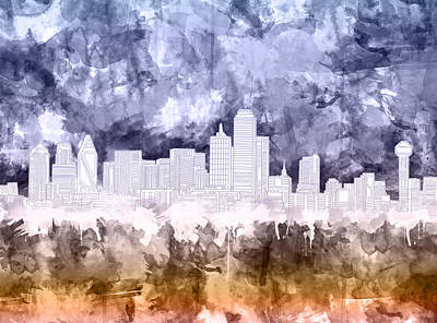 Dallas Skyline Wall Art - Painting - Dallas Skyline Brush Strokes 3 by Bekim Art