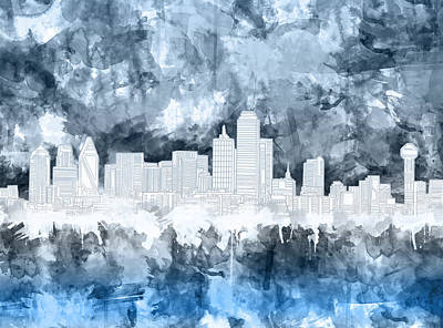 Abstract Digital Painting - Dallas Skyline Brush Strokes Blue 2 by Bekim Art