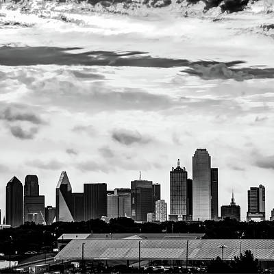 Photograph - Dallas Skyline Bw - Monochrome Square Format by Gregory Ballos