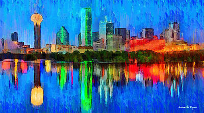 District Digital Art - Dallas Skyline - Da by Leonardo Digenio