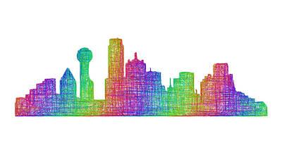 Dallas Skyline Drawing - Dallas Skyline by David Zydd