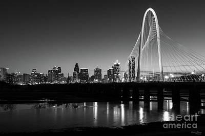 Photograph - Dallas Skyline Dawn Grayscale by Jennifer White