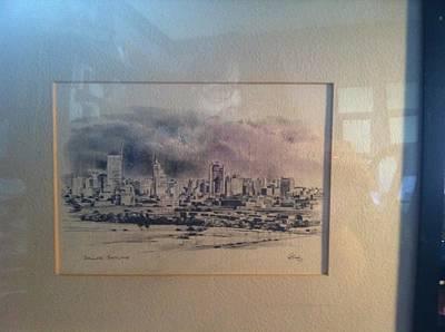 Dallas Drawing - Dallas Skyline by Ed Brandon