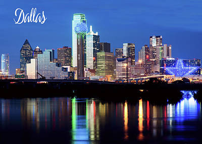 Photograph - Dallas Skyline Font 5x7 by Rospotte Photography