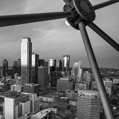 Photograph - Dallas Skyline From The Ball - Black And White - 1x1 by Gregory Ballos