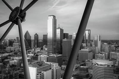 Photograph - Dallas Skyline From The Reunion Tower - Black And White by Gregory Ballos