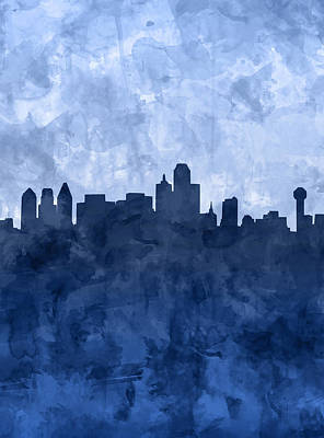 Abstract Digital Painting - Dallas Skyline Grunge Blue by Bekim Art