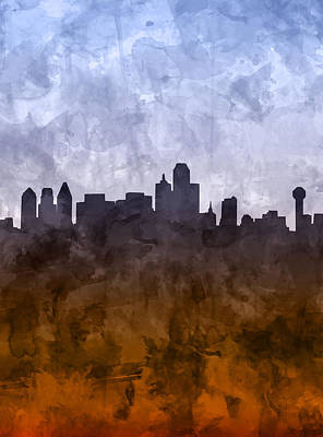 Abstract Digital Painting - Dallas Skyline Grunge by Bekim Art