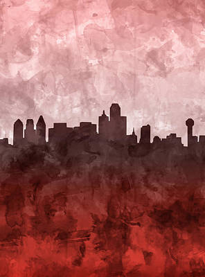 Abstract Digital Painting - Dallas Skyline Grunge Red by Bekim Art
