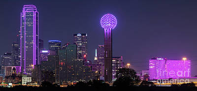 Dallas Skyline Photograph - Dallas Skyline In Pink Pano by Tod and Cynthia Grubbs