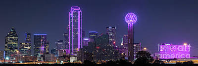 Dallas Skyline Photograph - Dallas Skyline In Pink Panorama 2 by Tod and Cynthia Grubbs