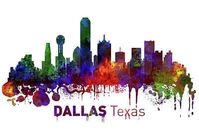 Dallas Skyline Mixed Media - Dallas Texas Skyline by Kevin O'Hare