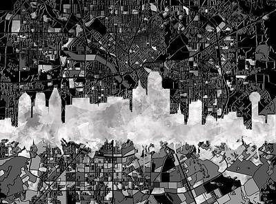 Abstract Digital Painting - Dallas Skyline Map Black And White 2 by Bekim Art