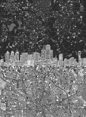 Abstract Digital Painting - Dallas Skyline Map Black And White 3 by Bekim Art