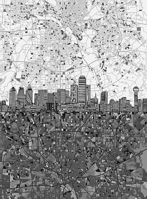 Painting - Dallas Skyline Map Black And White 4 by Bekim Art