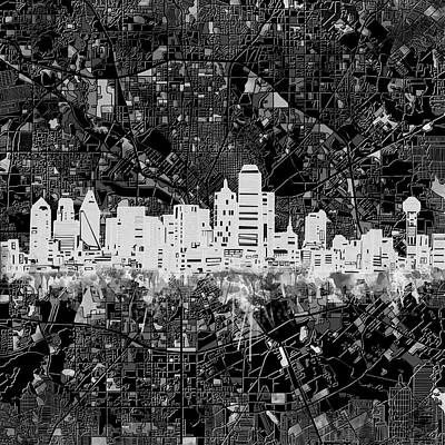Dallas Skyline Wall Art - Painting - Dallas Skyline Map Black And White 5 by Bekim Art