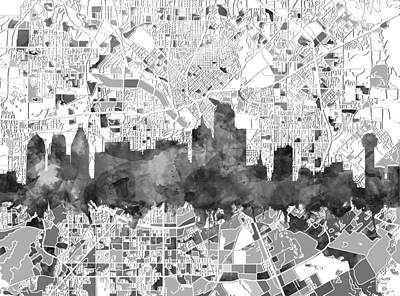 Abstract Digital Painting - Dallas Skyline Map Black And White by Bekim Art
