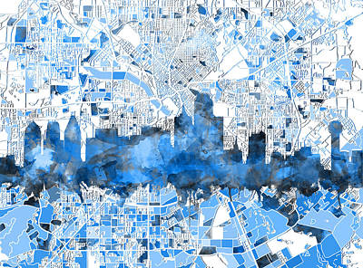 Abstract Digital Painting - Dallas Skyline Map Blue 2 by Bekim Art