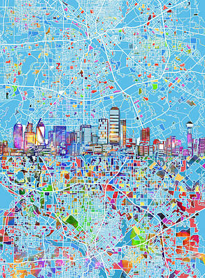 Abstract Digital Painting - Dallas Skyline Map Blue 3 by Bekim Art