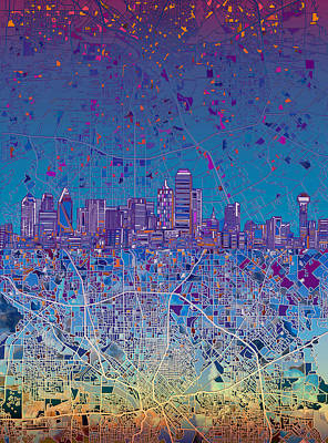 Abstract Digital Painting - Dallas Skyline Map Blue 4 by Bekim Art