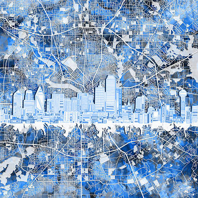 Abstract Digital Painting - Dallas Skyline Map Blue 5 by Bekim Art