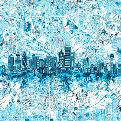 Painting - Dallas Skyline Map Blue 6 by Bekim Art