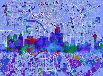 Abstract Digital Painting - Dallas Skyline Map Blue by Bekim Art