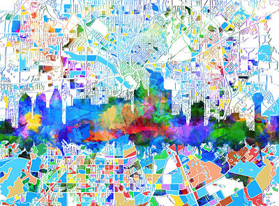 Abstract Digital Painting - Dallas Skyline Map Color 2 by Bekim Art