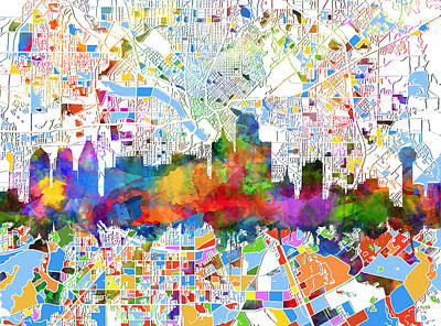 Abstract Digital Painting - Dallas Skyline Map Color 3 by Bekim Art