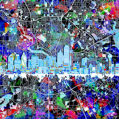 Abstract Digital Painting - Dallas Skyline Map Color 4 by Bekim Art