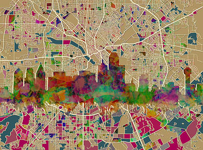 Abstract Digital Painting - Dallas Skyline Map Color by Bekim Art