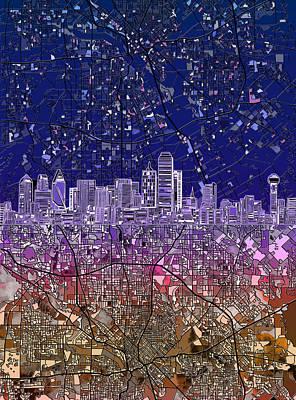 Painting - Dallas Skyline Map Purple 2 by Bekim Art