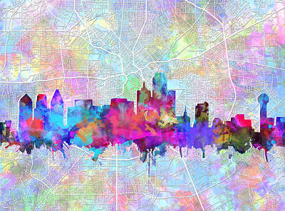 Abstract Digital Painting - Dallas Skyline Map Purple by Bekim Art