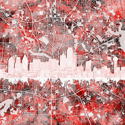 Dallas Skyline Painting - Dallas Skyline Map Red 2 by Bekim Art