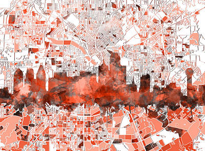 Dallas Skyline Wall Art - Painting - Dallas Skyline Map Red by Bekim Art