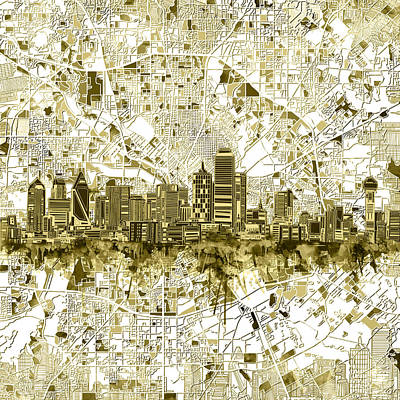 Dallas Skyline Map Sepia 2 Art Print