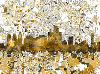 Abstract Digital Painting - Dallas Skyline Map Sepia by Bekim Art