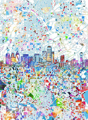 Abstract Digital Painting - Dallas Skyline Map White 2 by Bekim Art