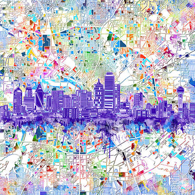 Abstract Digital Digital Art - Dallas Skyline Map White 3 by Bekim Art