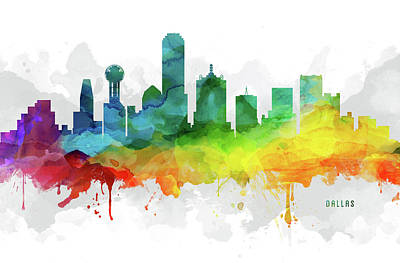 Dallas Skyline Mmr-ustxda05 Art Print