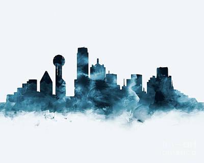 Dallas Skyline Mixed Media - Dallas Skyline by Monn Print